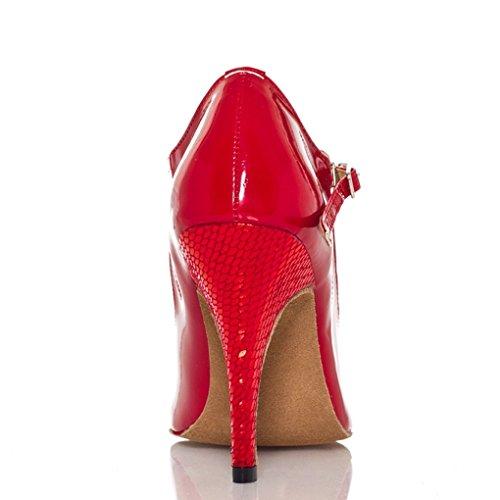 Stiletto Heel Dance Latin High Women's Kevin Shoes Snake Red Fashion Ballroom TqEwqI