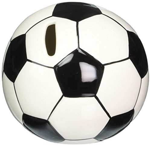 Cosmos 10509 Fine Porcelain Soccer Piggy Bank, 4-1/4-Inch