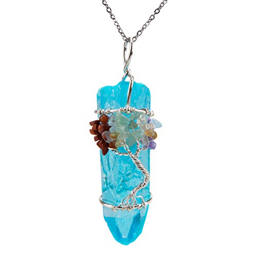 Bivei 7 Chakra Tree of Life Necklace Gemstone Copper Wire Wrap Clear Quartz Point Crystal Pendant Necklace(Titanium Coated Blue)