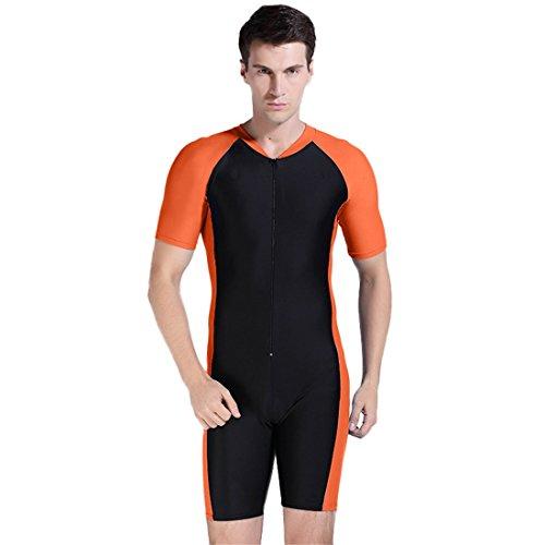 Deep Sea Diving Helmet Costume (KUTU sunscreen clothing couples short-sleeved diving suits surfing suit wetsuit snorkel clothing swimwear (Men's orange, M))