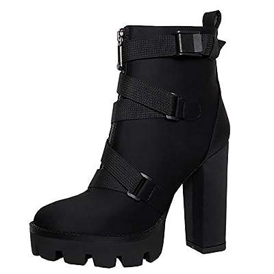 Vimisaoi Women's High Chunky Heels Lace Up Zipper Platform Ankle Booties Autumn Winter Combat Martin Boots