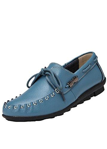 MatchLife Damen Leder Flach Schnürsenkel Schuhe Style1-Blau