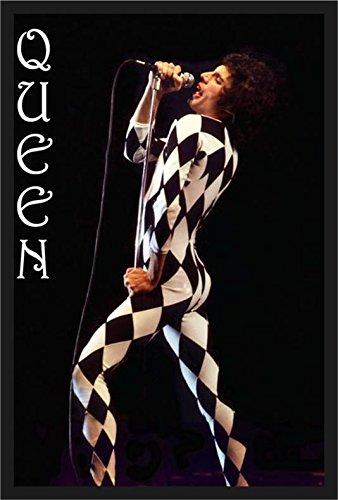 Buyartforless IF PW 51596 36x24 1.25 Black Plexi Framed Queen Freddie Mercury Harlequin Outfit 36X24 Music Art Print Poster Stage Costume