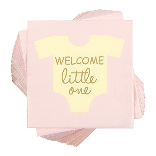 100-Pack Cocktail Napkins - Welcome Little One Disposable Paper Party Napkins - Perfect for Girls Baby Shower or Gender Reveal Parties - 5 x 5 Inches Folded