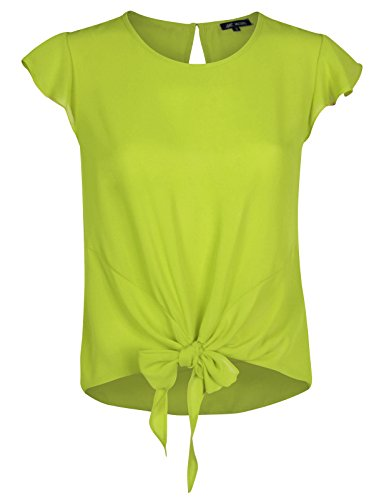acec0d12 Michel Womens Round Neck Tulip Short Sleeve Blouse Tie Front Tops Blouses  Applegreen Small