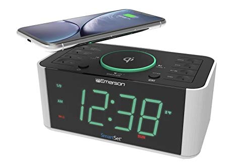 Emerson Alarm Clock Radio and QI Wireless Phone Charger with Bluetooth, Compatible with iPhone Xs Max/XR/XS/X/8/Plus, 10W Galaxy S10/Plus/S10E/S9, All Qi Compatible Phones, ER100202 by Emerson Radio