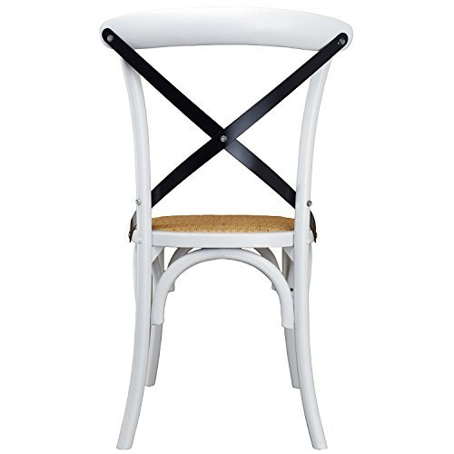 2xhome White Mid Century Modern Farmhouse Antique Cross Back Chair With X Back Assembled Solid Real Wooden Frame Antique Style Dining Chair Side Armless For Accent Chairs Woven Kitchen Task Work Desk by 2xhome (Image #1)