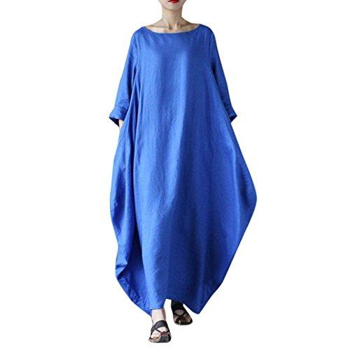 , ღ Hot Sale ღ ! Crew Neck Loose Casual Solid Cotton Baggy Oversized Long Maxi Dress T-Shirt Skirt Blouse Tops (L, Blue) ()