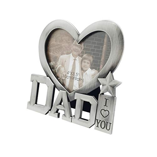 YUGUO Photo Frame 1Pc Photo Frame Durable Metal I Love Dad Creative Heart Shaped Silver Picture Frame Photo Frame for Gift Fathers Day