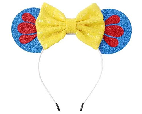 Snow White Mickey Ears, Snow White Ears,Blue Yellow Minnie Ears, Princess Mickey Ears, Disney Ears, Blue Minnie Mouse -