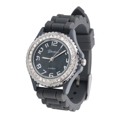 Geneva Stainless Steel Bracelets (Geneva Platinum CZ Accented Silicone Watch, Small Face)