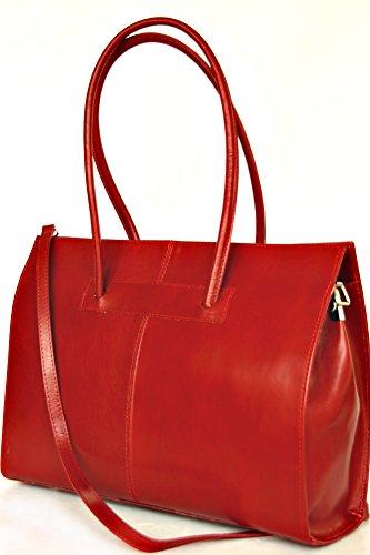 fashion-formel - Bolso al hombro de cuero para mujer rojo - rojo