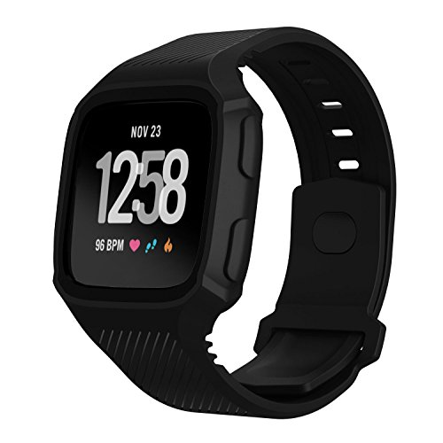 Feuy Fitbit versa bands,Soft TPU Protection Silicone Surrounded Sports Strap Wristband for Fitbit Versa Smart Fitness Watch Accessories Bracelet,Have protective Case cover function Band For Women men.