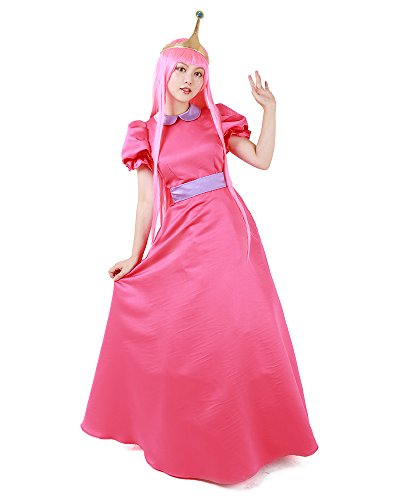 Miccostumes Girl's Pink Princess Bubblegum Cosplay Costume With Crown (Pink),One Size