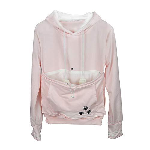 Pet Kangaroo Pouch Fashion Hoodies Pullover Cat Dog Holder Carrier Sweatshirt Pink L