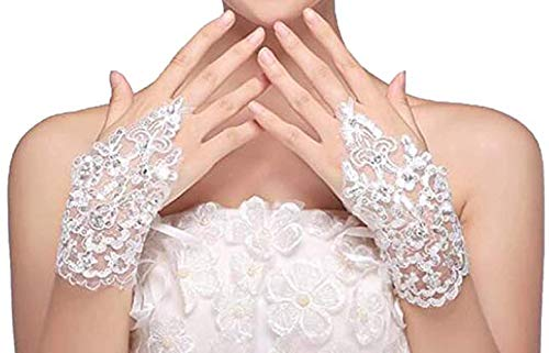Wedding Gloves Lace Bridal Floral Fingerless Gloves for Weeding Special Occasion Gloves