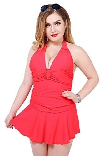 Wincolor - Traje de una pieza - Básico - Sin mangas - para mujer Rojo