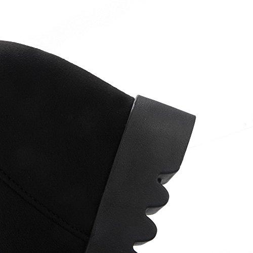 Pyöreitä Agoolar Musta Naisten Korkokenkiä Toe Suljetun Kiinteä Top Himmeä Saappaat Puolivälissä nrrxqB