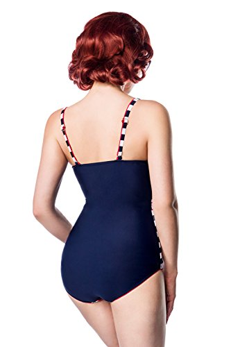 Swimsuit with Belt of Belsira L blau/weiß/rot