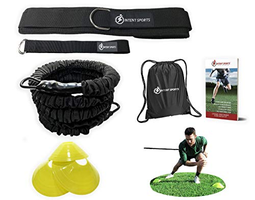 INTENT SPORTS 360° Dynamic Speed Resistance and Assistance Trainer Kit 8 Ft. Strength 80 Lb Resistance Running Bungee Band (Waist). Solo or Partner. Multi-Sport Maximize Power, Strength, Speed! - Training Resistance Belt