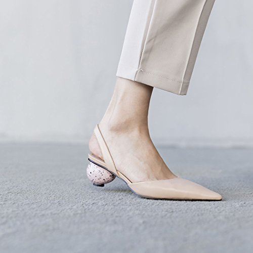 Shoes Court Eggshell Sandals Career Womens Novelty GAOLIXIA Casual High Pumps Office High Heeled Work Ladies Apricot Pointed Shoes Leather New Summer Heel Heels FRwavR