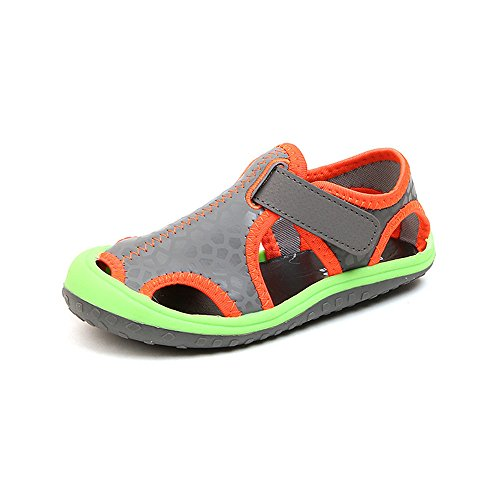 MK MATT KEELY Summer Breathable Water Shoes Gray Kid's Closed-Toe Strap Sports Sandals For Boys Girls Toddler Little Kids
