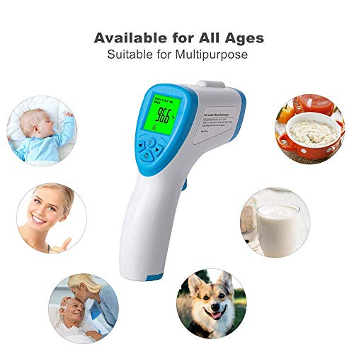 Thermometer for Adult Baby Kid, Koogeek Touchless Digital Infrared Forehead Thermometer for Fever, Non Contact Medical Thermometer Gun with Alarm, LED Display Screen, 1Second Instant Reading
