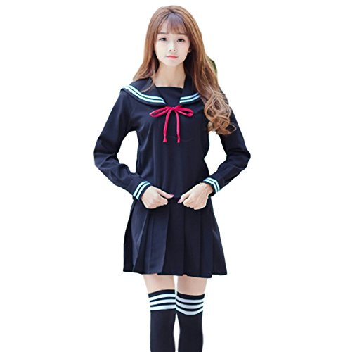 Dark School Girl Costumes (SAKURA-S : Japanese Sailor Suit Cosplay Costume【 Dark blue / Jacket+Skirt+Ribbon Tie+Socks 】Orthodox School Girl)