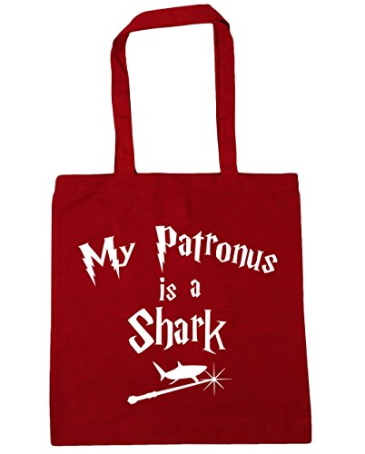 HippoWarehouse My Patronus Is A Shark Tote Shopping Gym Beach Bag 42cm x38cm, 10 litres Classic Red
