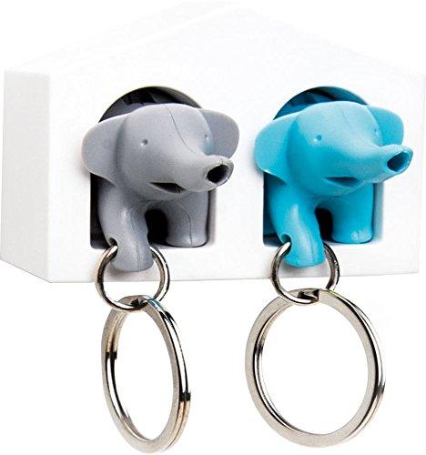 Duo Whistle Elephant Key Ring Holder