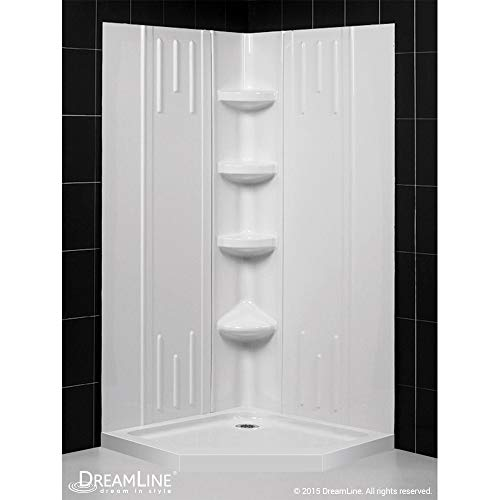 (DreamLine 36 in. x 36 in. x 75 5/8 in. H Neo-Angle Shower Base and QWALL-2 Acrylic Corner Backwall Kit in White,)