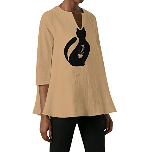 QIQIU 2019 Plus Size Cat Print T-Shirts Women New Pure Color Irregular Vintage Elegant Half Sleeve V-Neck Tops Blouses ()