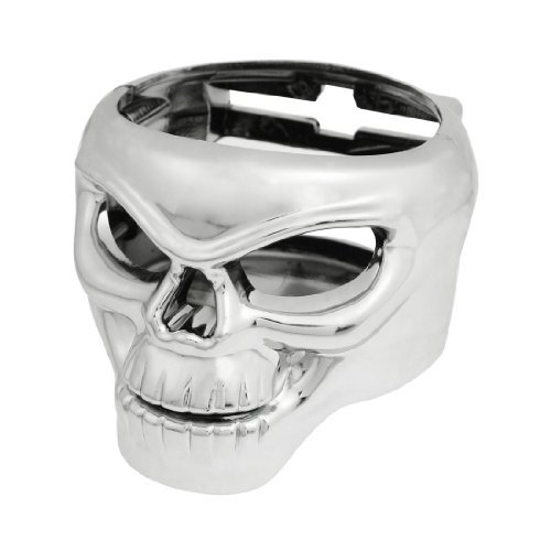 Water & Wood Truck Car Skull Shaped Beverage Bottle Can Drink Cup Holder Stand Silver Tone with Car Cleaning Clothing