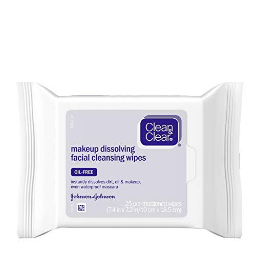 Clean & Clear Oil-Free Makeup Dissolving Facial Cleansing Wipes to Remove Dirt, Oil, Makeup & Waterproof Mascara, 25 ct.