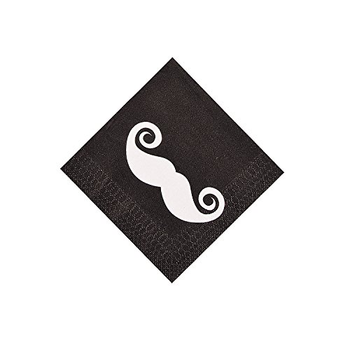 Fun Express Mustache Party 3Ply Beverage Napkins (16 Count) ()
