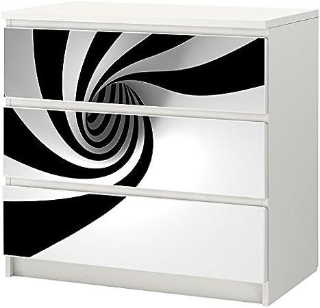 Kom0906 Autocollants Stickers En Noir Blanc Pour Ikea Malm