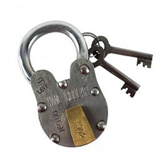 Antique Style Wine Cellar Padlock with 2 Skeleton Keys