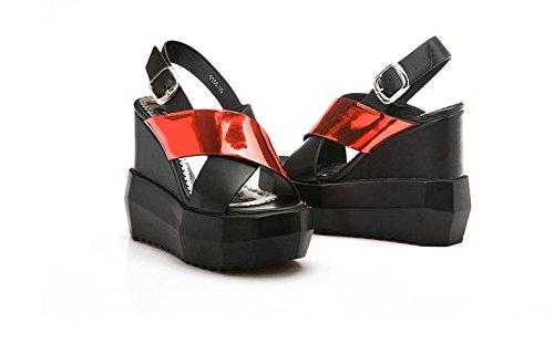 moda romane casuale inarcamento di estivi LvYuan Red cunei donne talloni stile Sandali scarpe delle inferiori xWwOwfAIq