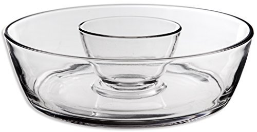 Chip and Dip 2 Piece Glass Bowl ~ Ideal to Serve Chips and Dip ~ Strong and Solid Built Clear Glass Design ~ Large Round Platter and Small Dip ~ All in One Bowl Set by Classy Glass