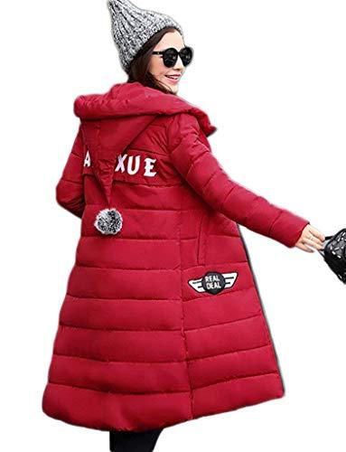 Manteau Doudoune Chaud Chaud Fit Styles Rouge Col Loisir Femme Mode Young Slim Hiver Automne Rembourrage Capuchon Blouson Elgante Poches Longues Manteau Manches Quilting Hiver Roul Latrales 6CdwdIxq