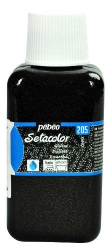 Pebeo Light Fabrics Glitter Setacolor Fabric Paint, 250ml, Onyx
