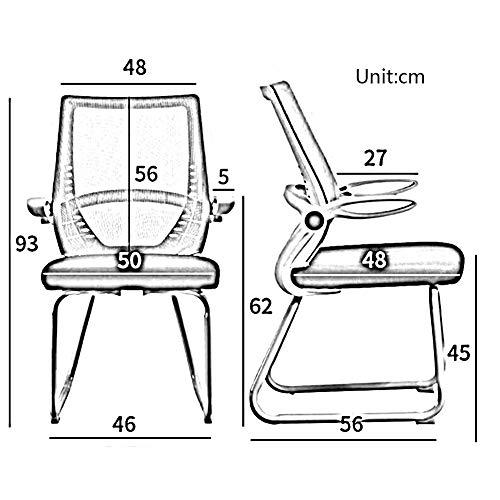 Kontorsstol DALL Rosettformade nätstolar dator skrivbordsstol personalstol konferensstol stålbas (färg: Blå, storlek: Vit ram)