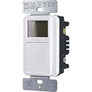 GE SunSmart in-Wall Digital Timer, Push Button, Backlit LCD, Automates Indoor and Outdoor Lights, Daily/Weekly Settings, ON/Off, Sunset/Sunrise Presets, White and Lt. Almond Door, 32787