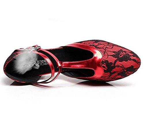 Suola Strap Chiudi donna XIE EU38 T Taogo Danza Formato Scarpe RED75CMHEEL morbida Pizzo 35To41 sandali EU36 pompe da latino HqEXwvXY