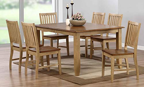 Sunset Trading DLU-BR4272-C60-PW7PC Brook Dining Set, Large, Two Sizes, Distressed Tone Light Creamy Wheat with Warm Pecan Finish top