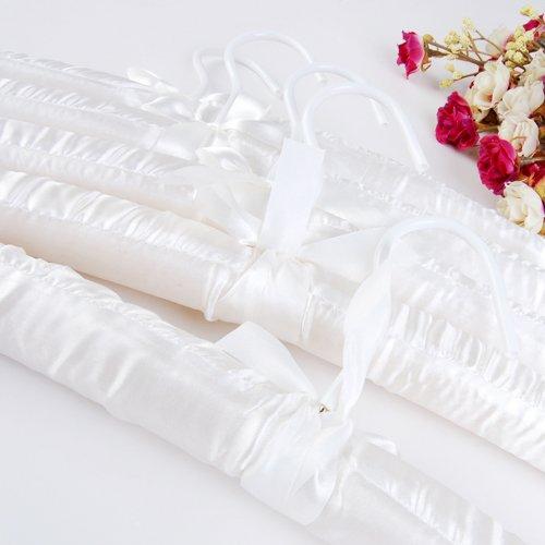 R SODIAL 5 x Cintre de Satin Blanc Rembourre pour Vetements