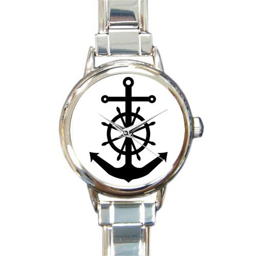 Christmas Day Gift Nautical Black Anchor and Wheel Round Italian Charm stainless steel Watch