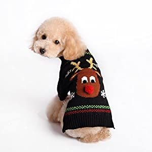Menpet Pet Christmas Holiday Cartoon Reindeer Dog Sweater