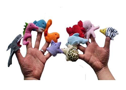 [해외]Heyuni.Set of 10Pcs Sea Animal Finger Puppets Soft Plush Cartoon Toy Dolls Props for Children / Heyuni.Set of 10Pcs Sea Animal Finger Puppets Soft Plush Cartoon Toy Dolls Props for Children