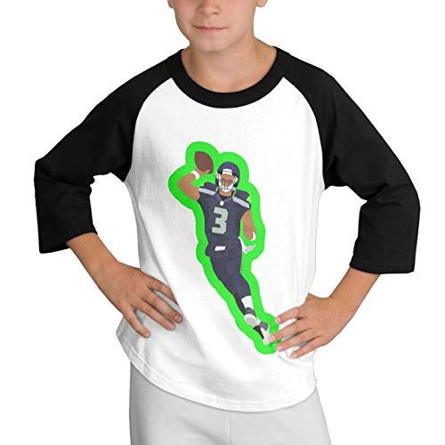 Teens Baseball Jersey Russell-Wilson-Wilson-Football 3/4 Sleeve Raglan Baseball T-Shirt Black